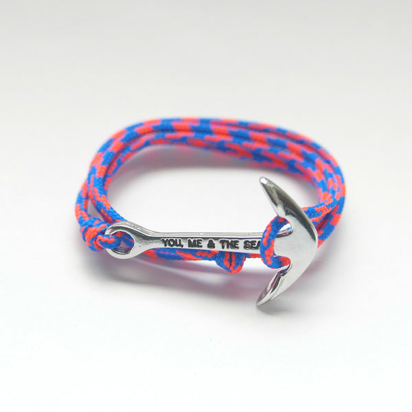 Nautical Rope Bracelet Anchor Silver Royal Blue and Fluor Coral