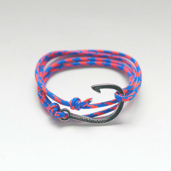 Nautical Rope Bracelet hook Silver Royal Blue and Fluor Coral