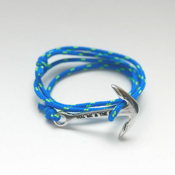 Nautical Rope Bracelet Anchor Silver Froyal Blue and Fluor Green