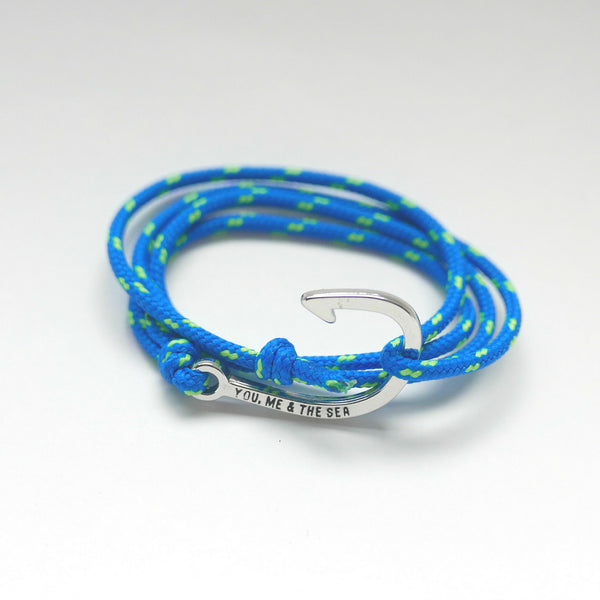 Nautical Rope Bracelet hook Silver Froyal Blue and Fluor Green