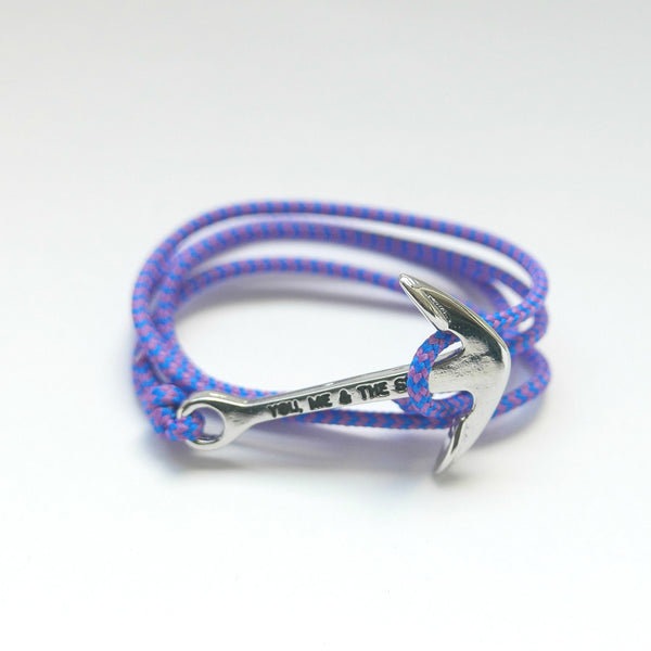 Nautical Rope Bracelet Anchor Silver Royal Blue Purple