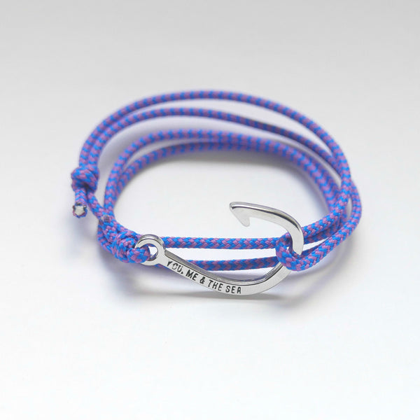 Nautical Rope Bracelet hook Silver Royal Blue Purple
