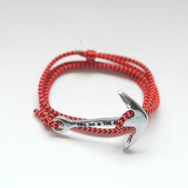 Nautical Rope Bracelet Anchor Silver Black Fluor Coral