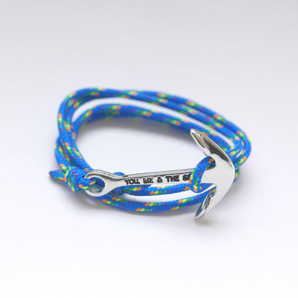 Nautical Rope Bracelet Anchor Silver Royal Rainbow