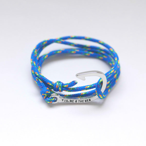 Nautical Rope Bracelet hook Silver Royal Rainbow