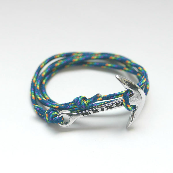 Nautical Rope Bracelet Anchor Silver Petrol Rainbow