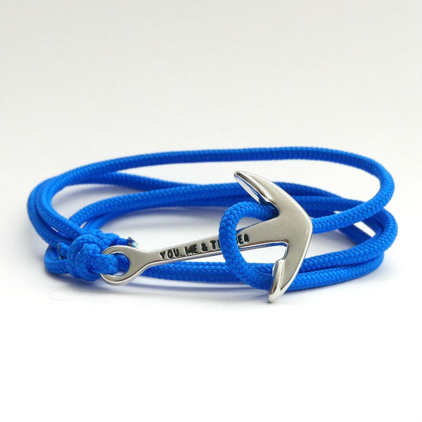You, Me & The Sea Nautical Rope Bracelet Anchor Royal chrome