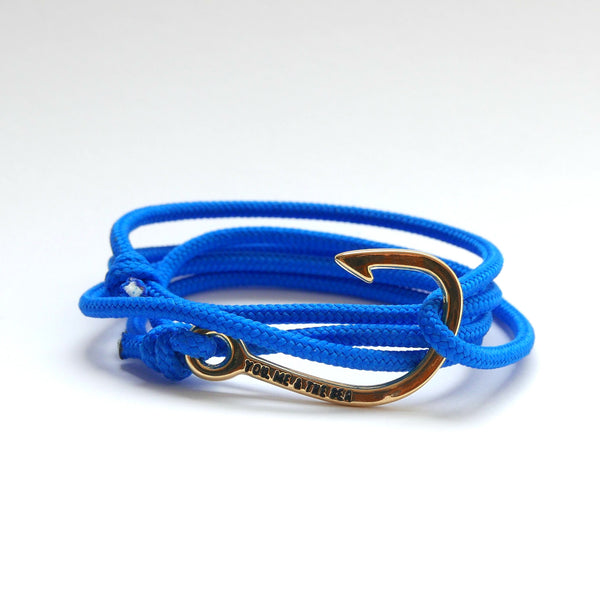 Nautical Rope Bracelet Hook Gold Royal Blue