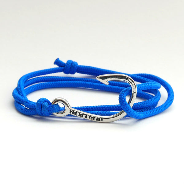 Nautical Rope Bracelet Hook Silver Royal Blue