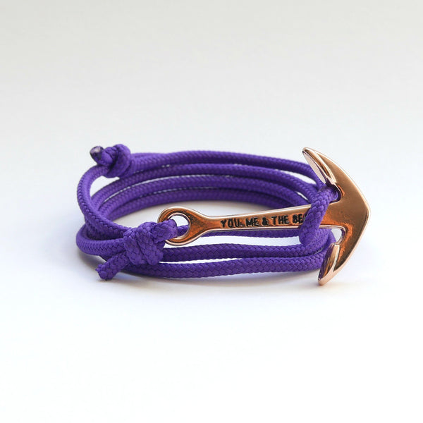 Nautical Rope Bracelet Anchor Rose Purple