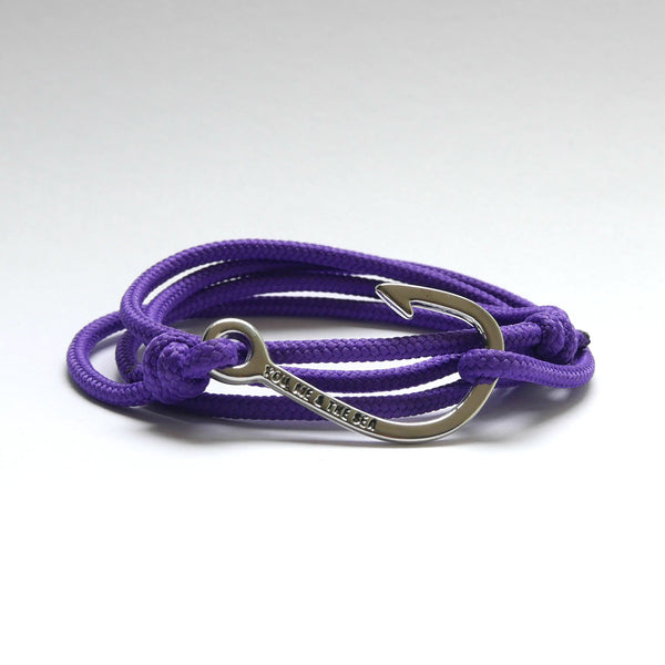 Nautical Rope Bracelet Hook Silver Purple