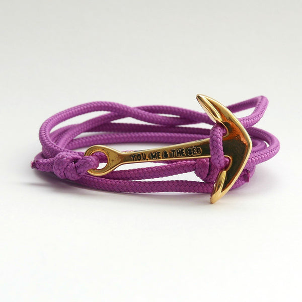 Nautical Rope Bracelet Anchor Gold Lilac