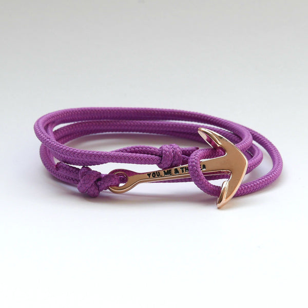 Nautical Rope Bracelet Anchor Rose Lilac