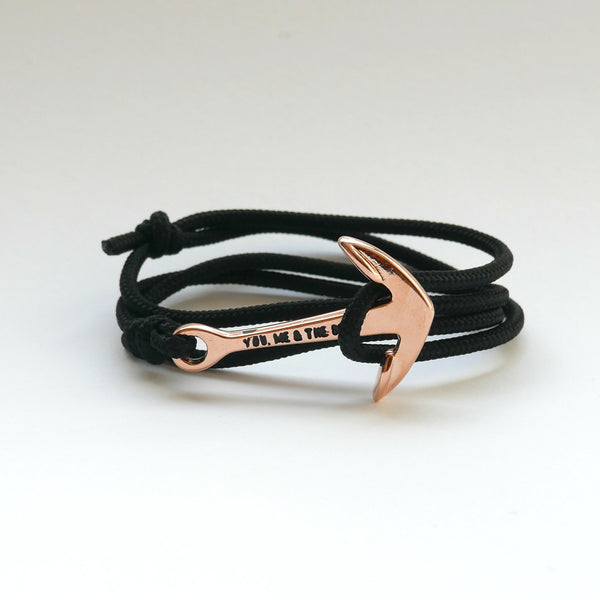 Nautical Rope Bracelet Anchor Rose Black