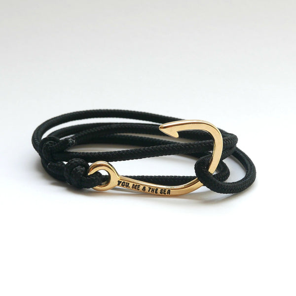 You, Me & The Sea Nautical Rope Bracelet Hook Black Gold