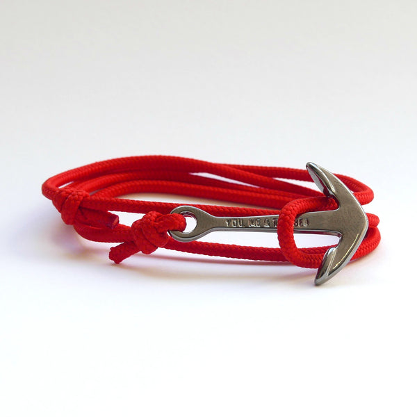 Nautical Rope Bracelet Anchor Black Red