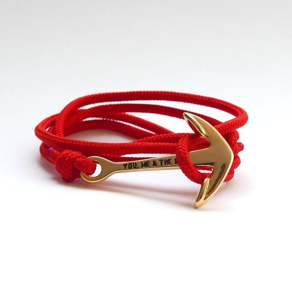 Nautical Rope Bracelet Anchor Gold Red
