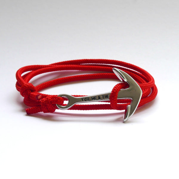 Nautical Rope Bracelet Anchor Silver Red