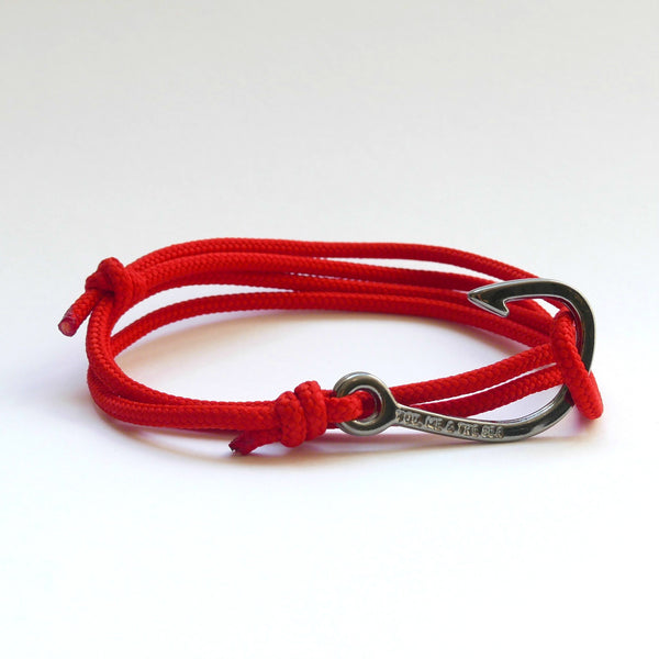 Nautical Rope Bracelet Hook Black Red