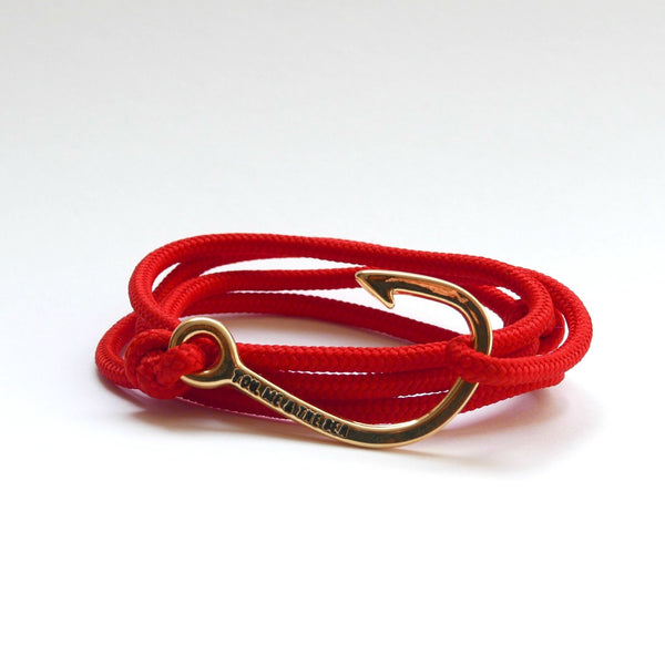 Nautical Rope Bracelet Hook Gold Red