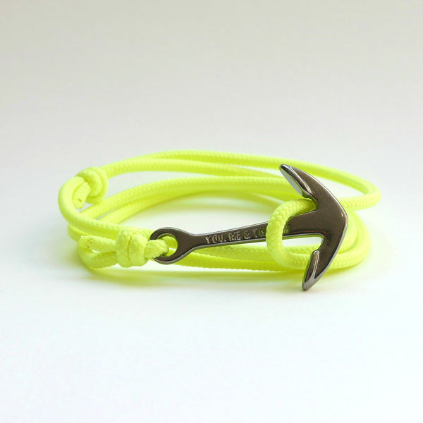 Nautical Rope Bracelet Anchor Black Fluor Yellow