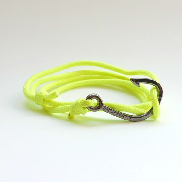 Nautical Rope Bracelet Hook Black Fluor Yellow