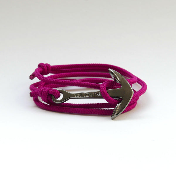 Nautical Rope Bracelet Anchor Black Raspberry