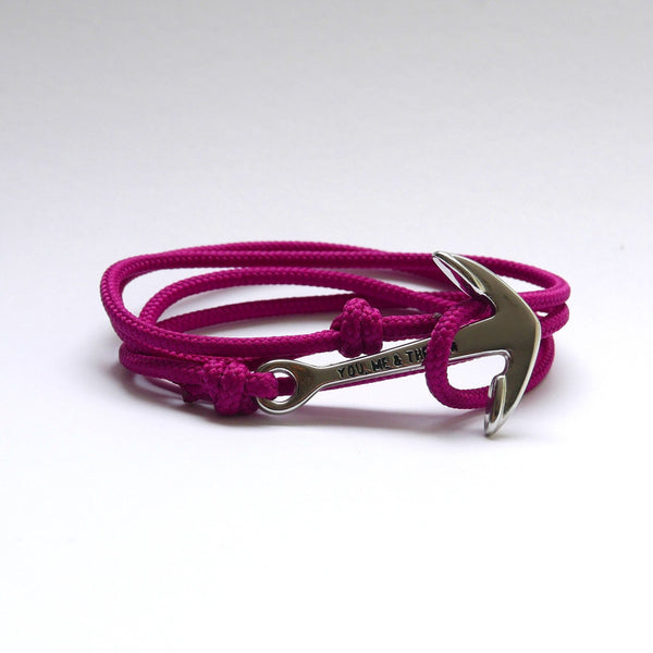 Nautical Rope Bracelet Anchor chrome Raspberry