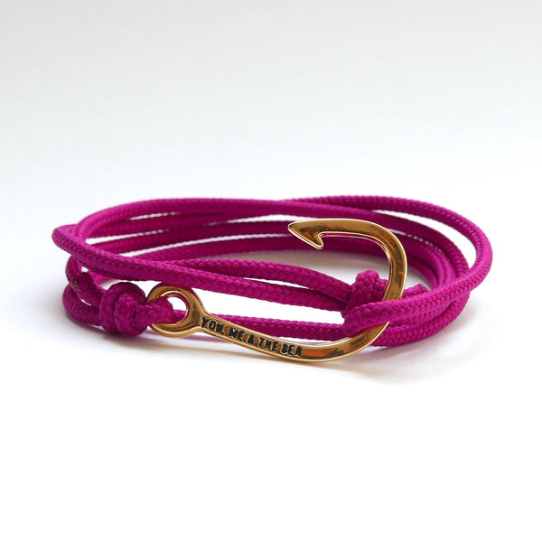 Nautical Rope Bracelet Hook Gold Raspberry