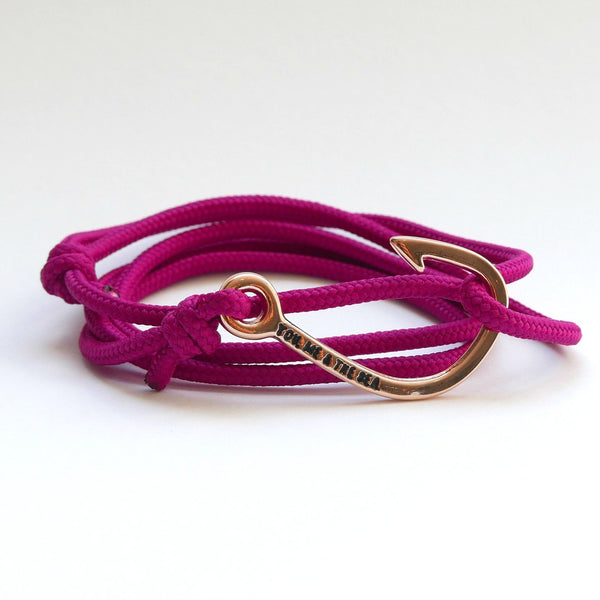 Nautical Rope Bracelet Hook Rose Raspberry