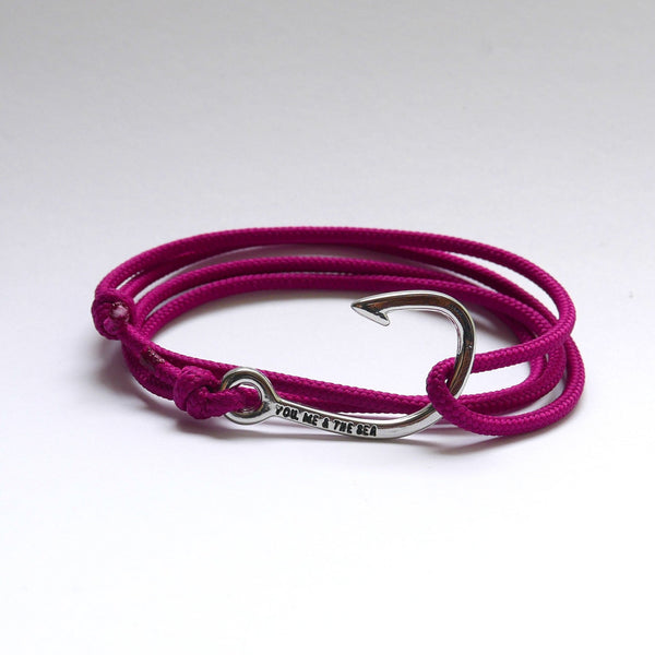 Nautical Rope Bracelet Hook chrome Raspberry