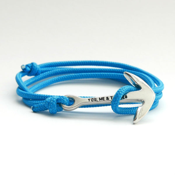 Nautical Rope Bracelet Anchor Silver Ocean Blue
