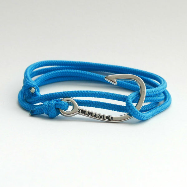 Nautical Rope Bracelet Hook chrome Ocean Blue