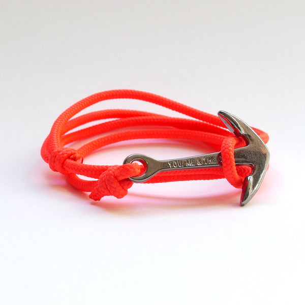 Nautical Rope Bracelet Anchor Black Fluor Coral