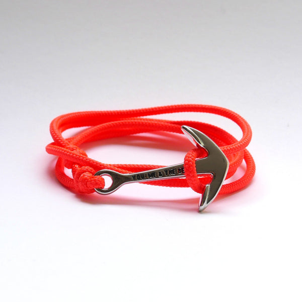Nautical Rope Bracelet Anchor fluro Coral
