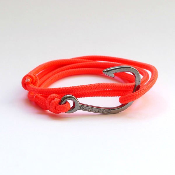 Nautical Rope Bracelet Hook Black Fluor Coral