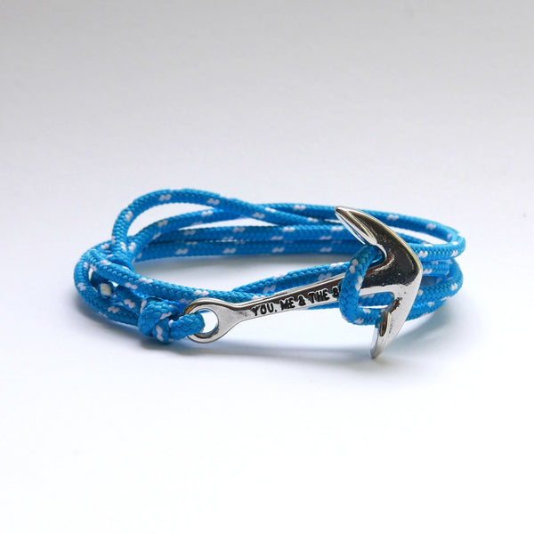 Nautical Rope Bracelet Anchor Silver Ocean Blue and White