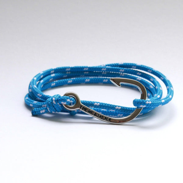 Nautical Rope Bracelet Hook chrome Ocean Blue and White