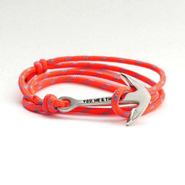 Nautical Rope Bracelet Anchor chrome fluro Orange Ocean Blue