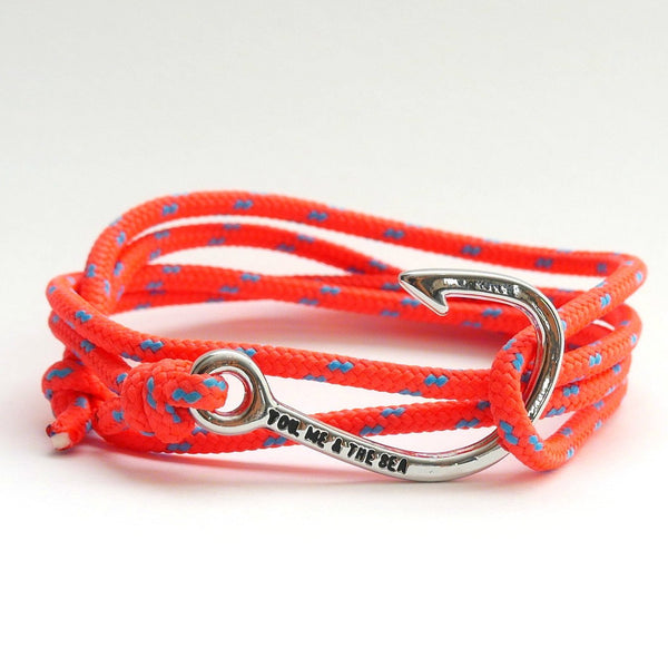 Nautical Rope Bracelet Hook chrome fluro Orange Ocean Blue