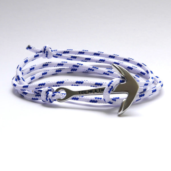 Nautical Rope Bracelet Anchor Silver White and Navy