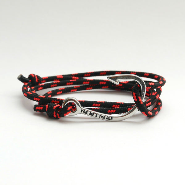 Nautical Rope Bracelet Hook Silver Black Fluor Coral