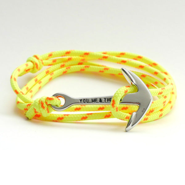 Nautical Rope Bracelet Anchor Silver Fluor Yellow Fluor Orange
