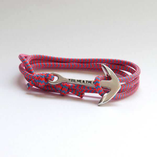 Nautical Rope Bracelet Anchor chrome fluro Coral Ocean Blue