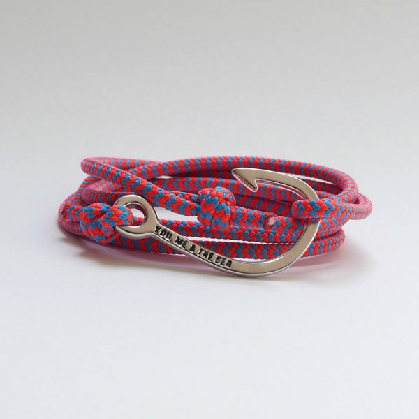 Nautical Rope Bracelet Hook chrome fluro Coral and Ocean Blue