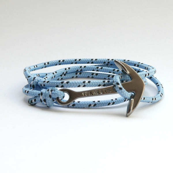 Nautical Rope Bracelet Anchor Black Fluor Sky Blue White Black
