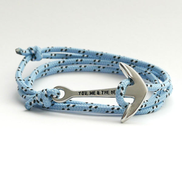 Nautical Rope Bracelet Anchor Silver Sky Blue Black White Dot