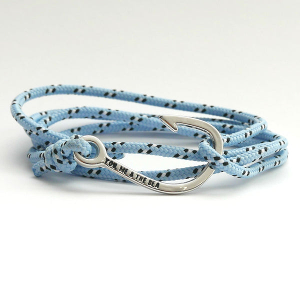 Nautical Rope Bracelet Hook Silver Sky Blue Black White Dot