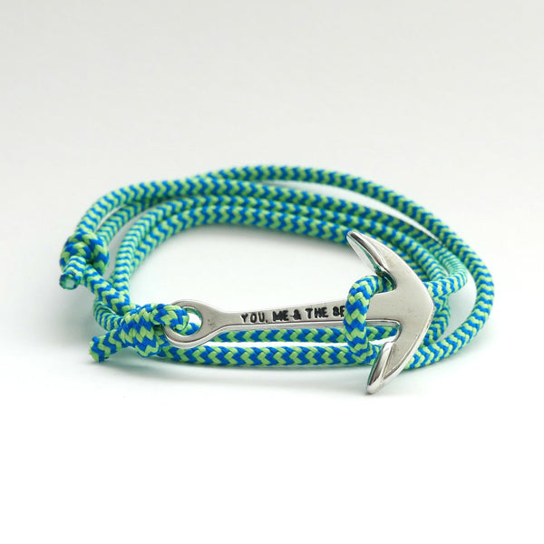 Nautical Rope Bracelet Anchor Silver Royal Blue Fluor Green