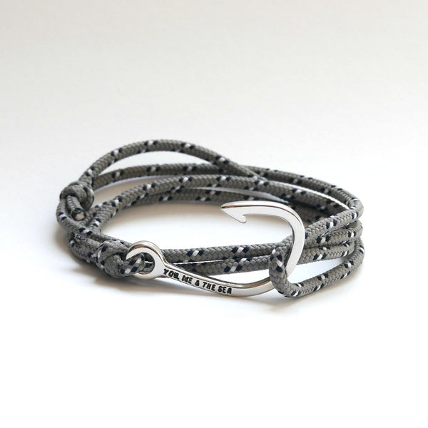 Nautical Rope Bracelet Hook chrome Grey Navy White